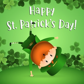 Happy st patricks day belettering met grappige leprechaun