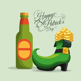 Happy st patricks day bottle beer and boot coins