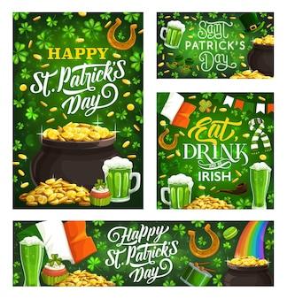 Happy st patricks day groene symbolen van ierse religie vakantie