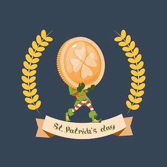 Happy st. patricks day leprechaun houd grote gouden munt met klaver blad
