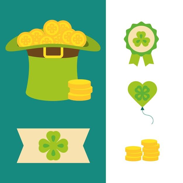 Happy st patricks day pictogrammen hoed rozet hart bier hoed en munten vlakke afbeelding