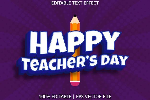Happy teacher's day bewerkbaar teksteffect in moderne stijl