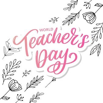 Happy teacher's day inscriptie. groet hand getrokken belettering.