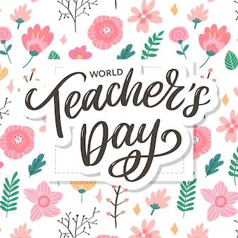 Happy teacher's day inscriptie. wenskaart met kalligrafie. hand getrokken belettering. typografie voor uitnodiging, spandoek, poster of kledingontwerp. citaat.