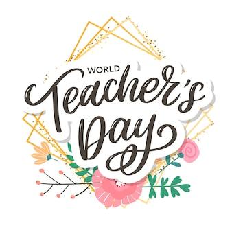 Happy teacher's day inscriptie. wenskaart met kalligrafie. hand getrokken belettering. typografie voor uitnodiging, spandoek, poster of kledingontwerp.