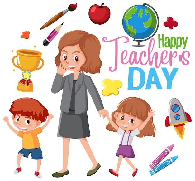 Happy teacher's day-logo met leraar en studenten