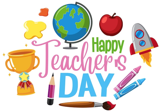 Happy teacher's day-logo met set stationaire elementen