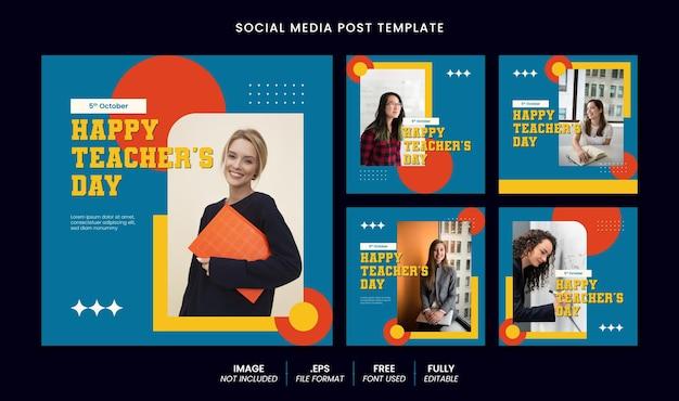 Happy teacher's day social media banner en instagram postsjabloon met bewerkbaar teksteffect