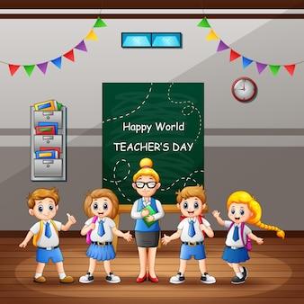 Happy teacher's day-tekst op bord met kinderen en leraar