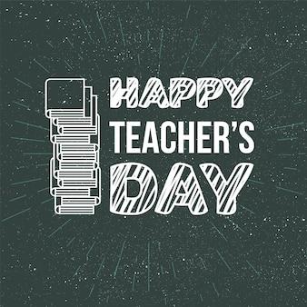 Happy teacher's day viering banner met tekst. vector