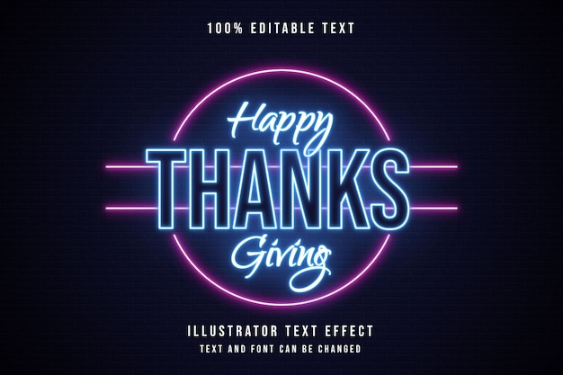Happy thanksgiving, 3d bewerkbaar teksteffect blauwe neonroze tekststijl