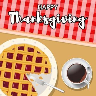 Happy thanksgiving achtergrond met taart en een kopje koffie