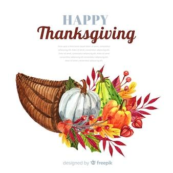 Happy thanksgiving aquarel achtergrond met pompoenen en bladeren