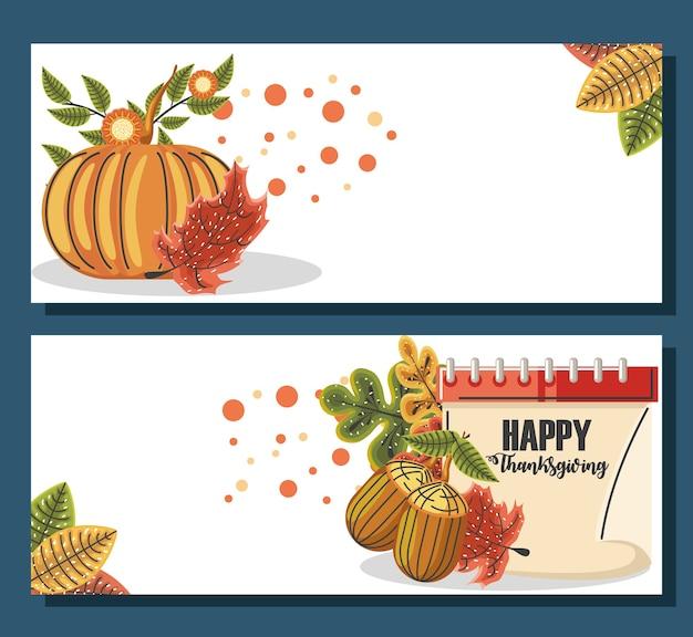 Happy thanksgiving banners instellen met herfstbladeren, pompoen en kalender