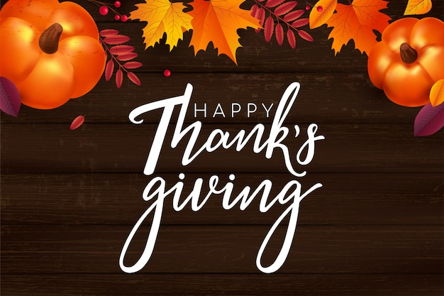Happy thanksgiving belettering achtergrond.