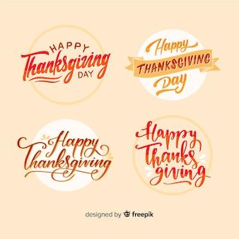 Happy thanksgiving belettering badges collectie