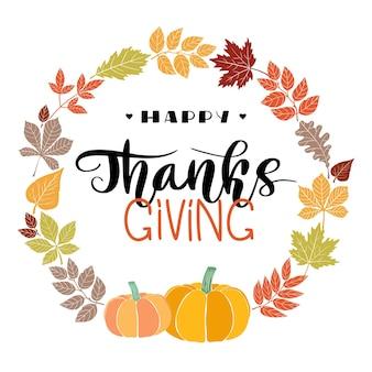 Happy thanksgiving belettering in de hand getekende stijl