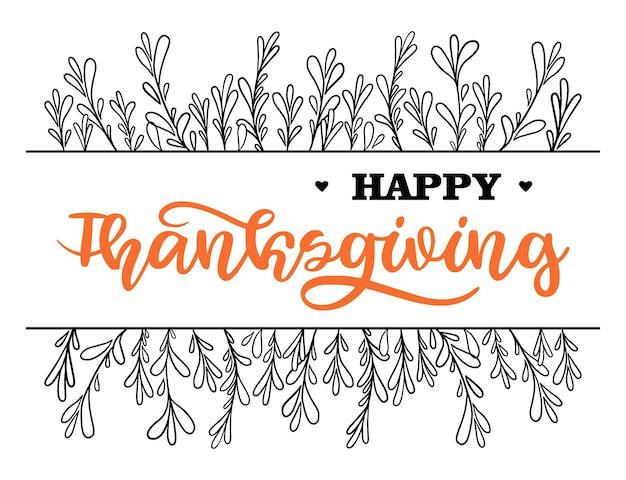 Happy thanksgiving-belettering in handgetekende stijl