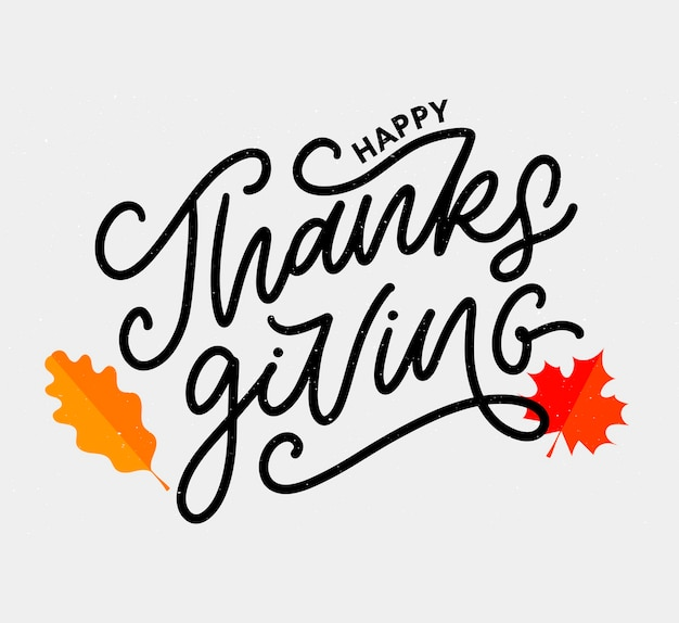 Happy thanksgiving belettering kalligrafie tekst penseel vector