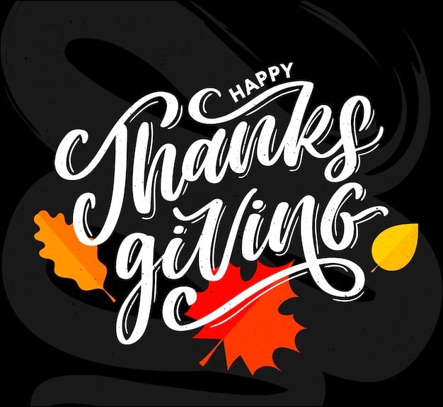 Happy thanksgiving belettering kalligrafie tekstborstel