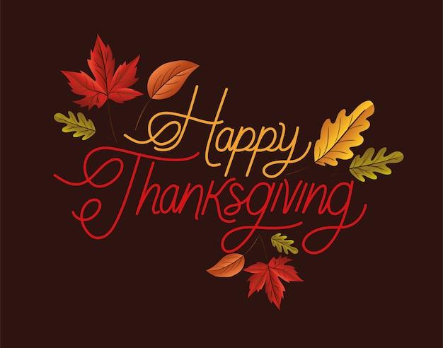 Happy thanksgiving belettering met bladeren ontwerp
