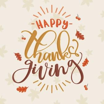 Happy thanksgiving belettering met bladeren