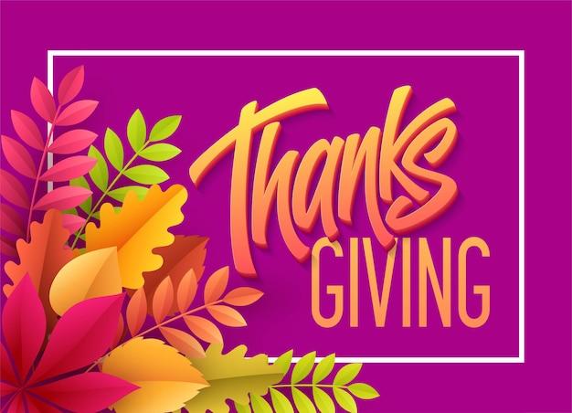 Happy thanksgiving belettering met papieren herfstblad. vector illustratie eps10