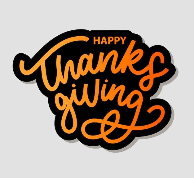 Happy thanksgiving borstel hand belettering geïsoleerd op een witte achtergrond