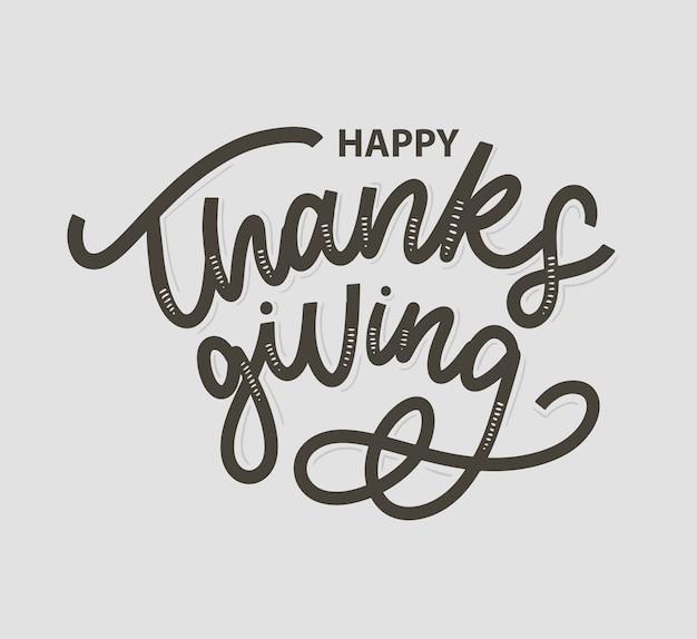 Happy thanksgiving borstel hand belettering, geïsoleerd op wit