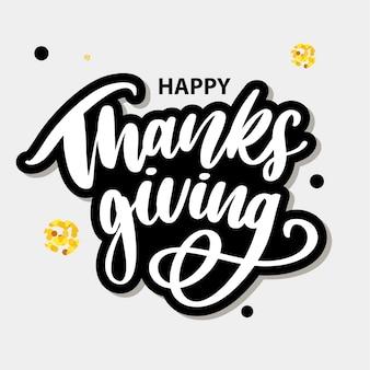 Happy thanksgiving borstel hand sticker belettering