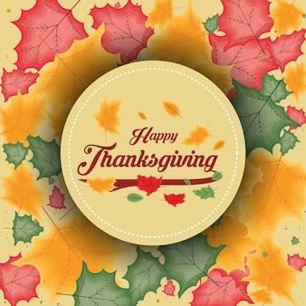Happy thanksgiving dag met bladeren