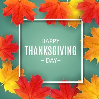 Happy thanksgiving day achtergrond met glanzende natuurlijke herfstbladeren