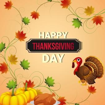 Happy thanksgiving day banner en kaart ontwerp