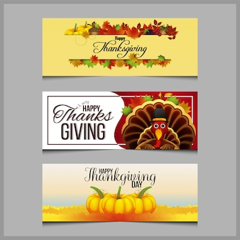 Happy thanksgiving day banner set met pompoen en herfstbladeren