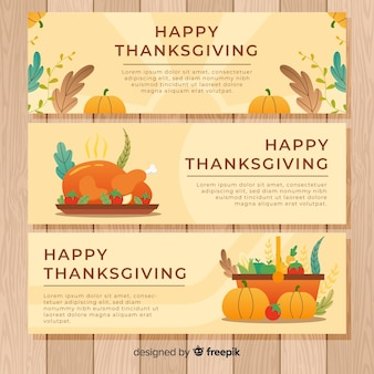 Happy thanksgiving day banner set