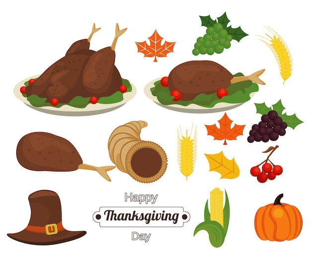 Happy thanksgiving day belettering met eten en accessoires.