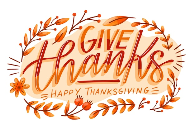Happy thanksgiving day belettering stijl