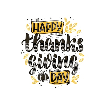 Happy thanksgiving day belettering