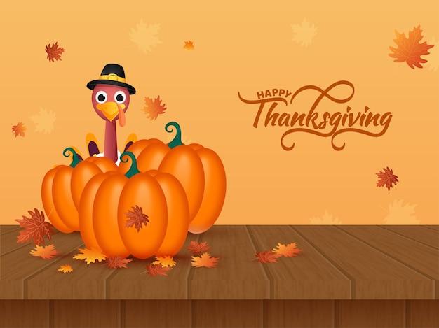 Happy thanksgiving day concept met illustratie van cartoon turkije vogel, glanzende pompoenen, esdoorn bladeren op gele en bruine houten achtergrond.