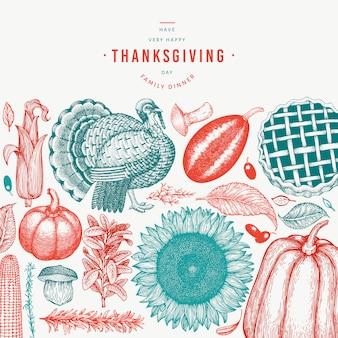 Happy thanksgiving day elementen in de hand getekend