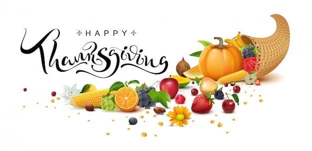 Happy thanksgiving day handgeschreven kalligrafie tekst wenskaart.