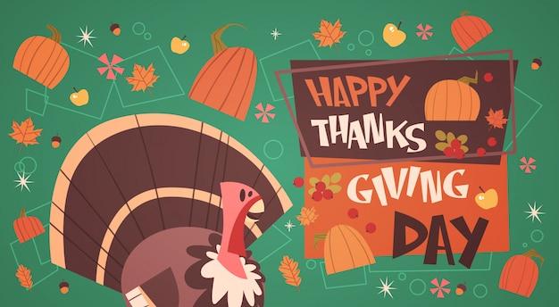 Happy thanksgiving day herfst traditionele oogst vakantie wenskaart met turkije