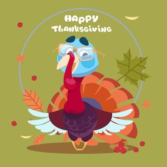 Happy thanksgiving day herfst traditionele oogst wenskaart met turkije