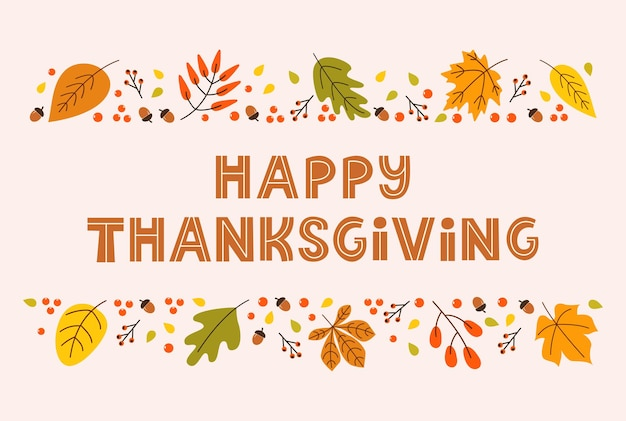 Happy thanksgiving day horizontale bannerachtergrond met seizoensbladeren en belettering op pastel