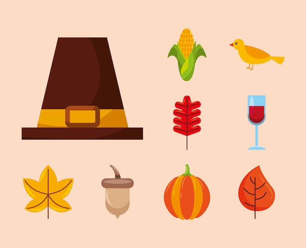 Happy thanksgiving day icon set ontwerp