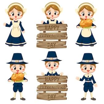 Happy thanksgiving day iconen met meisjes en borden gemaakt van verschillende houtsoorten.