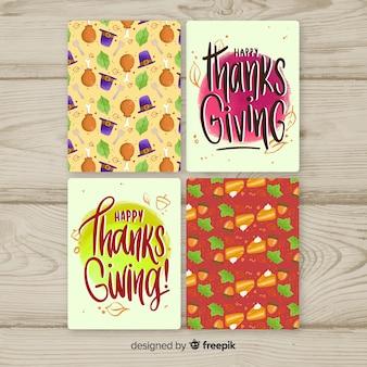 Happy thanksgiving day kaart in de hand getrokken stijl