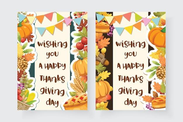 Happy thanksgiving day-kaart met esdoornblad en pompoen.