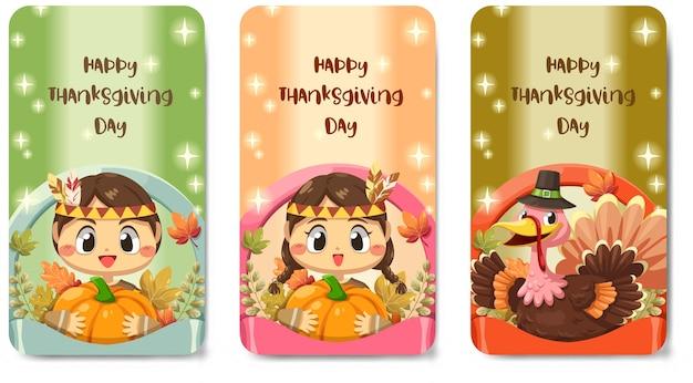 Happy thanksgiving day-kaart met meisje, turkije, esdoornblad en pompoen.