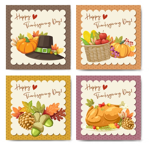 Happy thanksgiving day-kaart met pompoen, appel, maïs en esdoornbladeren